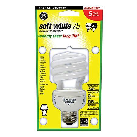 GE Spiral Compact Fluorescent Bulb, 20 Watts