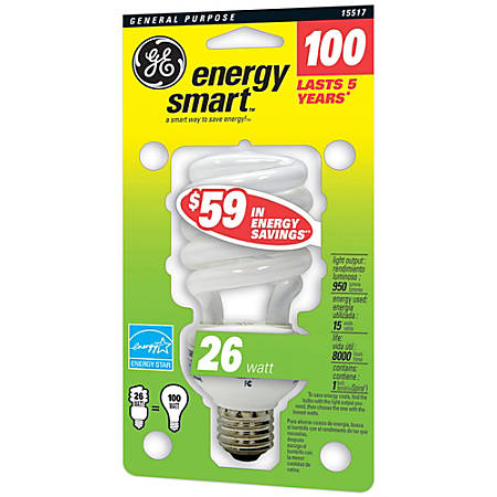 GE Spiral Compact Fluorescent Bulb, 23 Watts (100 Watts Equivalent)