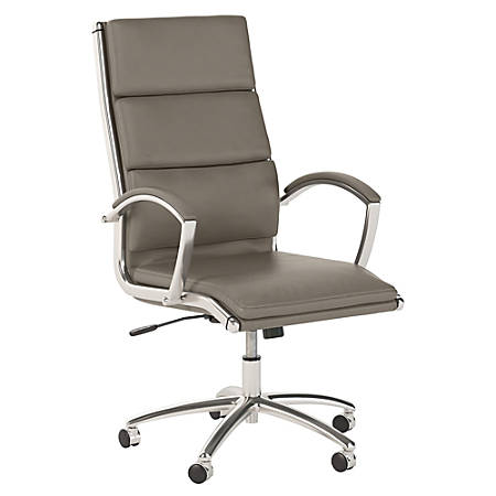 Bush Business Furniture Modelo High Back Leather Office Chair, Wash Gray, Standard Delivery