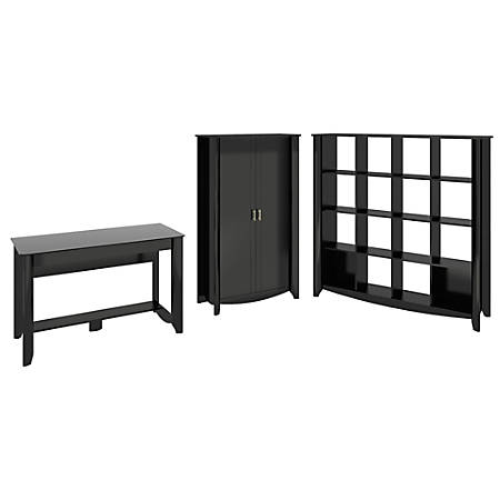 Bush Furniture Aero Writing Desk With 16 Cube Bookcase And Tall Storage Cabinet, Classic Black, Standard Delivery