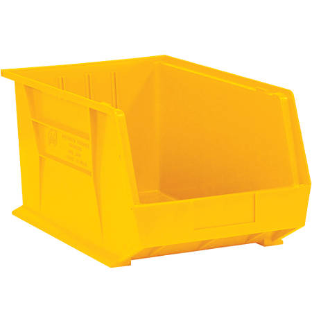 """Office Depot® Brand Plastic Stack And Hang Bin Boxes, 5 3/8"""" x 4 1/8"""" x 3"""", Yellow, Pack Of 24"""