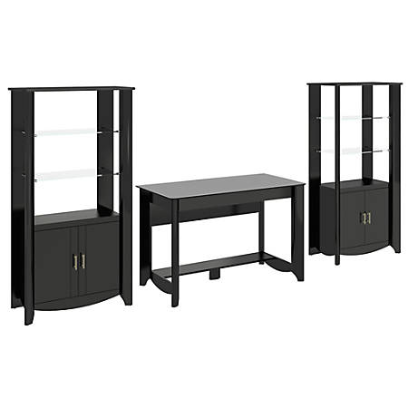 Bush Furniture Aero Writing Desk And Set of 2 Tall Library Storage Cabinets With Doors, Classic Black, Standard Delivery