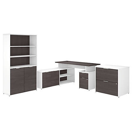 "Bush Business Furniture Jamestown 60""W L-Shaped Desk With Lateral File Cabinet And 5-Shelf Bookcase, Storm Gray/White, Premium Installation"