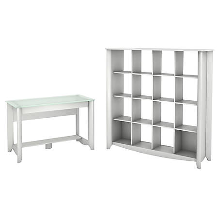 Bush Furniture Aero Writing Desk With 16 Cube Bookcase/Room Divider, Pure White, Standard Delivery