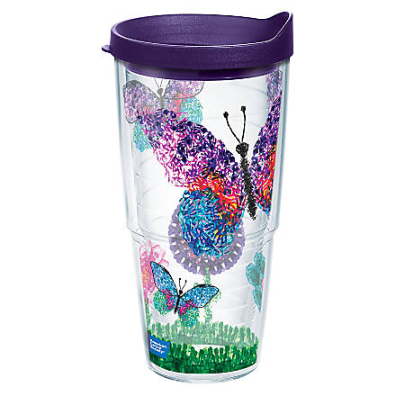 Tervis American Cancer Society Butterflies Tumbler With Lid, 24 Oz, Clear