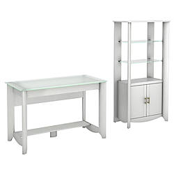 Bush Furniture Aero Writing Desk And Tall Library Storage