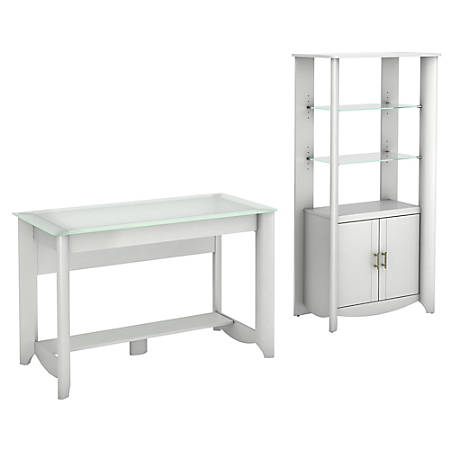 Bush Furniture Aero Writing Desk And Tall Library Storage Cabinet With Doors, Pure White, Standard Delivery