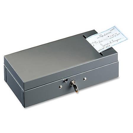"""MMF ChequeSlot SteelMaster Bond Box - 5 Bill - Charcoal Gray - 2.9"""" Height x 10.3"""" Width x 4.8"""" Depth"""