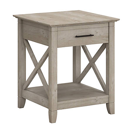 Bush Furniture Key West End Table With Storage, Washed Gray, Standard Delivery