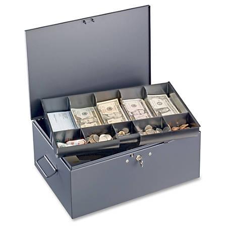 "Steelmaster 10-compartment Cash Box - 5 Bill - 5 Coin - Steel - Gray - 2.3"" Height x 15.4"" Width x 10.5"" Depth"