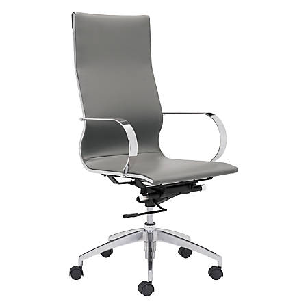 Zuo® Modern Glider High-Back Chair, Gray/Chrome
