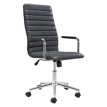 Zuo Modern Pivot Faux Leather High-Back Office Chair, Vintage Black/Chrome