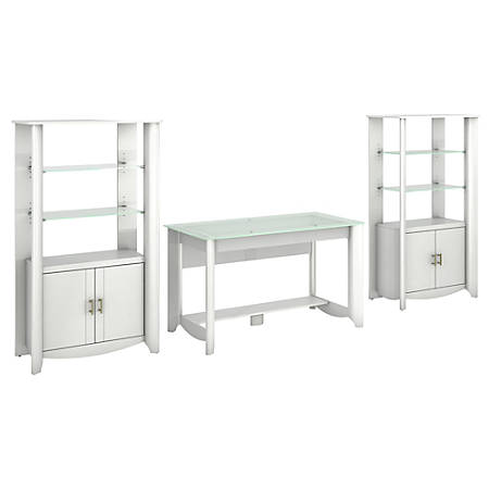 Bush Furniture Aero Writing Desk And Set of 2 Tall Library Storage Cabinets With Doors, Pure White, Standard Delivery