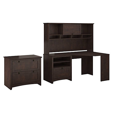 Bush Furniture Buena Vista Corner Desk With Hutch And Lateral File Cabinet, Madison Cherry, Standard Delivery