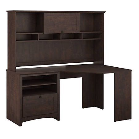 Bush Furniture Buena Vista Corner Desk With Hutch, Madison Cherry, Standard Delivery