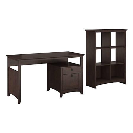 Bush Furniture Buena Vista Home Office Desk With 6 Cube Bookcase, Madison Cherry, Standard Delivery