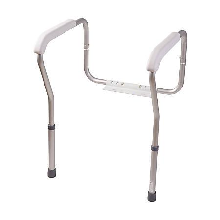 "HealthSmart® Adjustable Germ-Free Toilet Rails Safety Arms, 12""H x 27""W x 24""D, White"