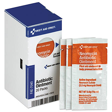 First Aid Only Antibiotic Ointment Refill For SmartCompliance General Business Cabinets, 0.03 Oz, Box Of 20 Packets