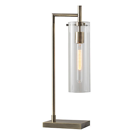"Adesso® Dalton Table Lamp, 13 3/4""H, Clear Shade/Brass Base"
