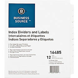 Business Source Customize 12 Tab Index
