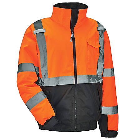 Ergodyne GloWear 8377 Type-R Class 3 Quilted Bomber Jacket, XX-Large, Orange