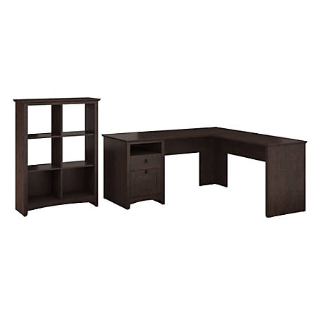 Bush Furniture Buena Vista L Shaped Desk With 6 Cube Bookcase, Madison Cherry, Standard Delivery