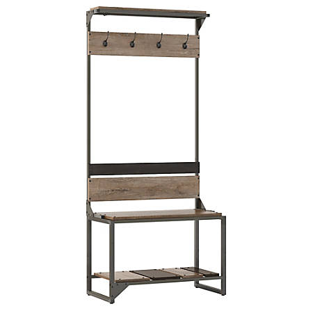Bush Furniture Refinery Hall Tree With Shoe Storage Bench, Rustic Gray/Charred Wood, Standard Delivery