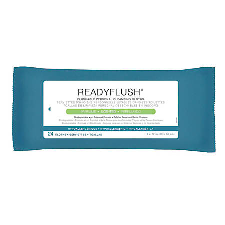 """ReadyFlush Flushable Wipes, Scented, 8"""" x 12"""", White, 24 Wipes Per Pack, Case Of 24 Packs"""