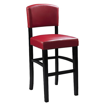 "Linon Home Décor Products Monaco Counter Stool, 30""H, Dark Red/Espresso"