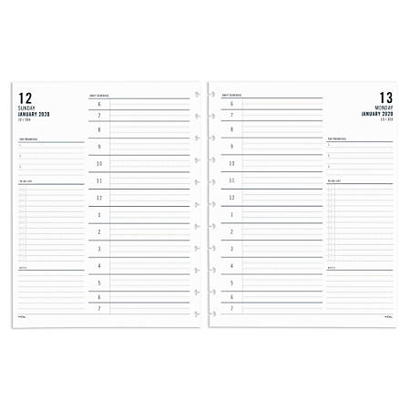 """TUL® Custom Note-Taking System Discbound Daily Refill Pages, For Letter-Size Notebook, 8-1/2"""" x 11"""", January to December 2020"""
