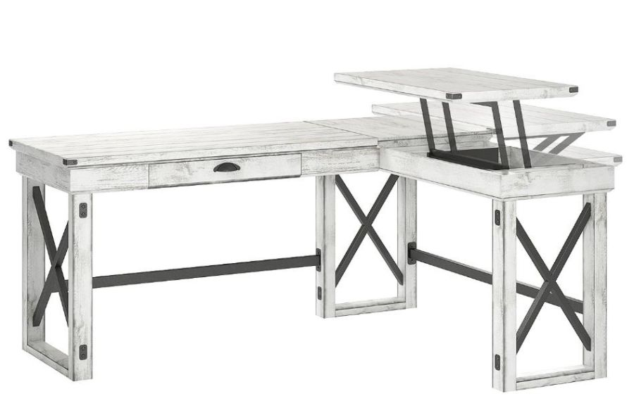 Brand new Ameriwood Wildwood L Shaped Desk With Lift Top Distressed  HA02