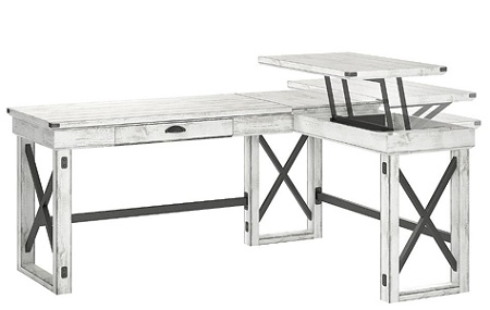 Ameriwood Wildwood L Shaped Desk With Lift Top Distressed Whitewash By Office Depot OfficeMax