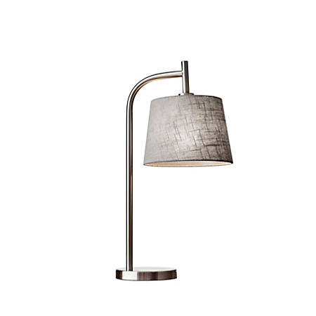 """Adesso® Blake Table Lamp, 25""""H, Gray Shade/Brushed Steel Base"""