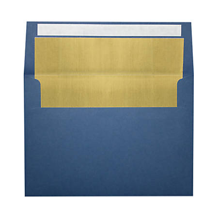 "LUX Foil-Lined Invitation Envelopes With Peel & Press Closure, A4, 4 1/4"" x 6 1/4"", Navy/Gold, Pack Of 250"