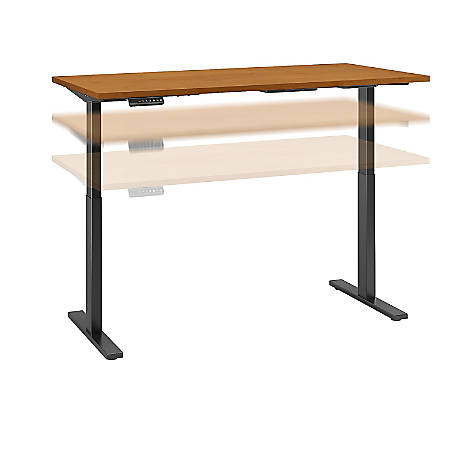 "Bush Business Furniture Move 60 Series 60""W x 24""D Height Adjustable Standing Desk, Natural Cherry/Black Base, Standard Delivery"