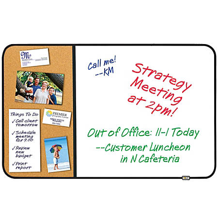 """Post-it® Sticky Cork And Non-Magnetic Dry-Erase Combination Board, 22"""" x 34"""""""