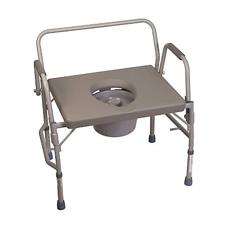 """DMI® Bariatric Drop-Arm Bedside Commode, 34""""H x 28 1/2""""W x 23""""D, Gray"""