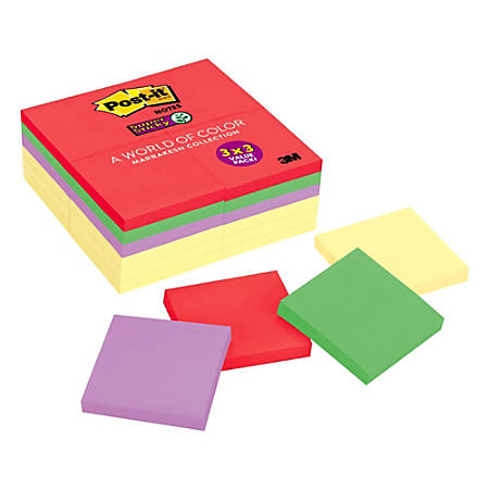 """Post it® Super Sticky Notes, 3"""" x 3"""", Marrakesh, Pack Of 24 Pads"""