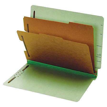 Pendaflex® End Tab Classification Folders, 60% Recycled, Letter Size, Gray/Light Green, Box Of 10