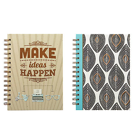 "Markings by C.R. Gibson® Twin-Wire Journal, Medium, 6 3/8"" x 8 1/2"", Ruled, 192 Pages (96 Sheets), Assorted Colors"