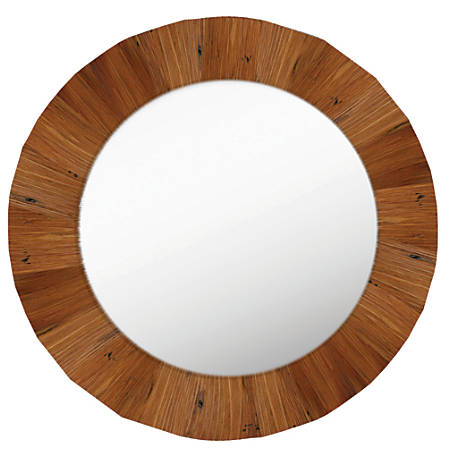 """PTM Images Framed Mirror, Round, 28""""H x 28""""W, Natural Brown"""