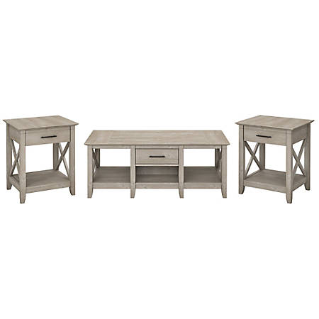 Bush Furniture Key West Coffee Table With Set Of 2 End Tables, Washed Gray, Standard Delivery
