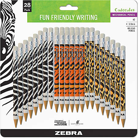 Zebra® Cadoozles Mechanical Pencils, 0.7 mm, Animal Print Multicolor Barrels, Pack Of 28