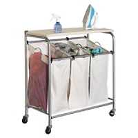 Honey-Can-Do Rolling Laundry Sorter with Ironing Board (Beige)