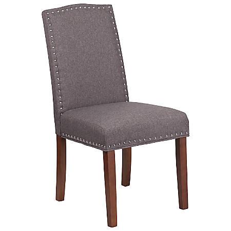 Flash Furniture HERCULES Hampton Hill Parsons Chair With Nail Trim, Gray/Wood Grain