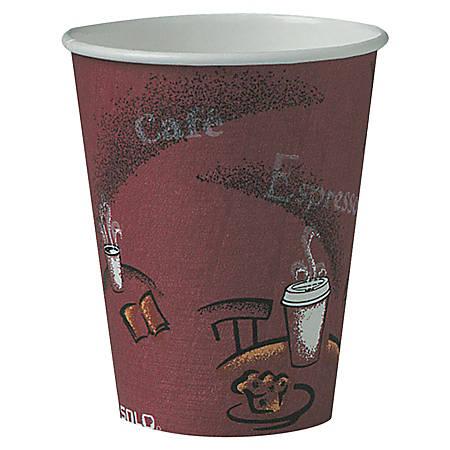 Solo® Paper Hot Cups, 8 Oz., Maroon, Carton Of 500