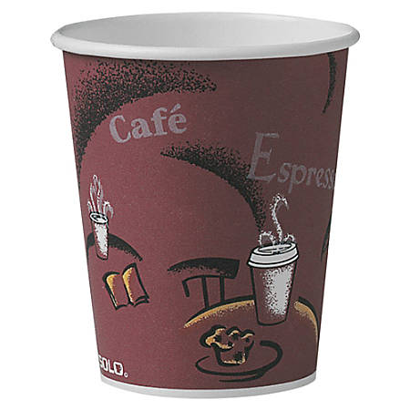 Solo® Paper Hot Cups, 10 Oz., Maroon, Carton Of 300