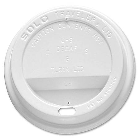 Solo® Traveler Lids, 10/24 Oz Cups, White, Carton Of 300