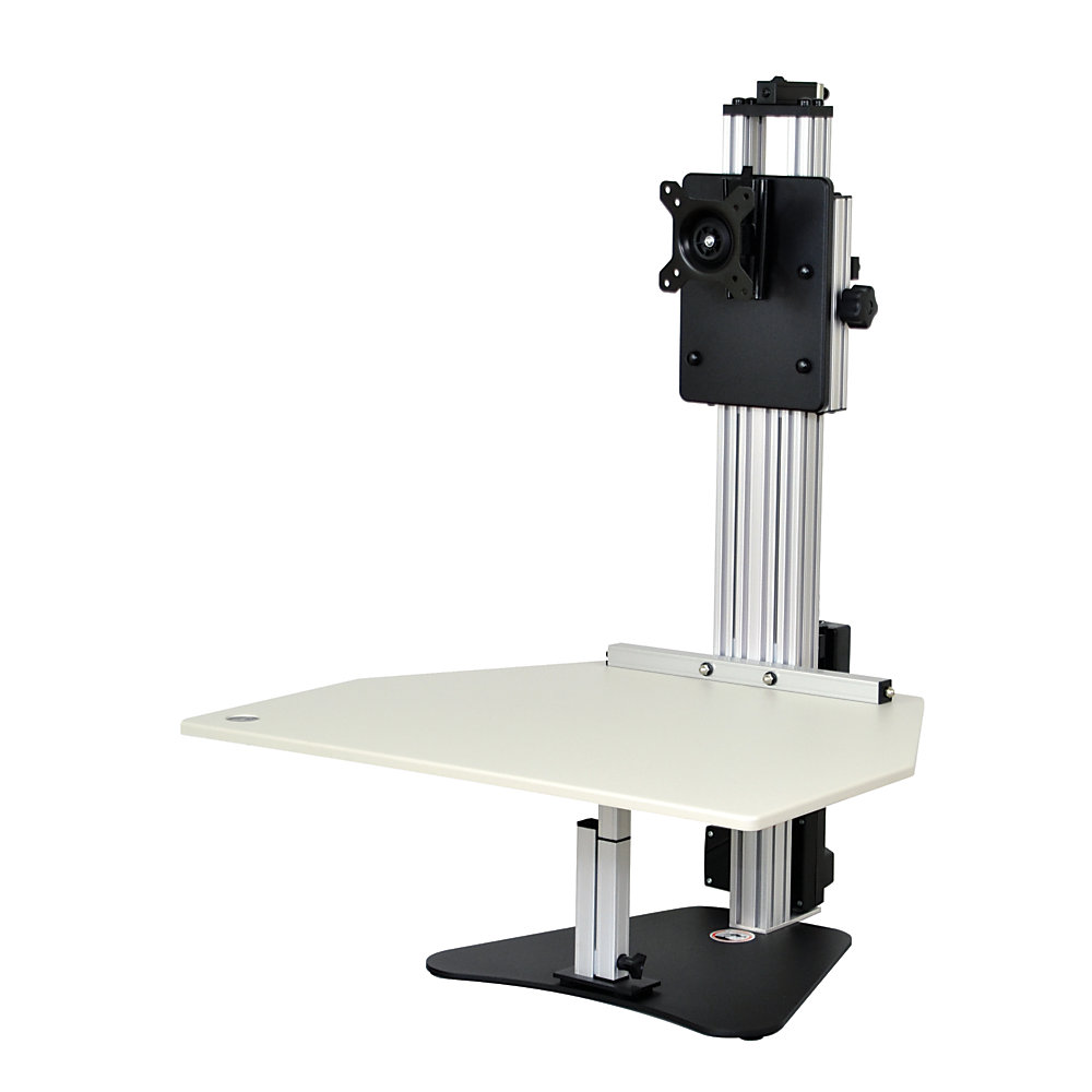 Moving and standing during the workday can help keep you fresh while you move through your busy day. This adjustable stand transforms your work area from a sitting desk to a standing desk and back with just a push of a button.  Holds most monitors up to 15 lb without the base attached. VESA mounts have a 75 x 75 or 100 x 100 pattern for easy compatibility.  Mounts can tilt, pan and rotate to provide a great viewing angle for colleagues while sharing information.  Monitor and work surface can be adjusted independently of each other.  Flush-mounted push button controls the nitrogen gas spring, so you can quickly adjust the height to suit your preferences. Height can be adjusted up to 20 1/2