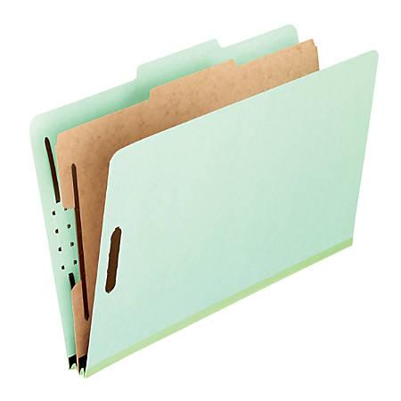 "Pendaflex® Pressboard Classification Folders, 8 1/2"" x 11"", Letter Size, 1 Divider, 30% Recycled, Corona Green, Box Of 10"